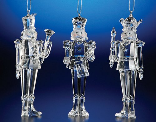 Club Pack of 12 ICY Crystal Decorative Christmas Nutcracker Ornaments - Crystal 12 Icy
