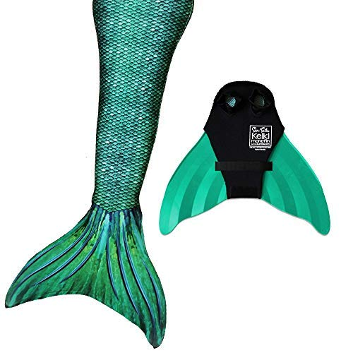 Sun Tails Mermaid Tail + Monofin for Swimming (2- Child L (8/10), Siren Green - Green Monofin)