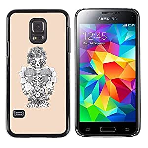 Eason Shop / Hard Slim Snap-On Case Cover Shell - Skull Floral Funny Skeleton Halloween - For Samsung Galaxy S5 Mini, SM-G800, NOT S5 REGULAR!