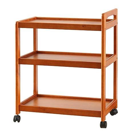 CAICOLOUR Carro de comedor de madera con ruedas Snack Car Rack de almacenamiento de cocina multifunción