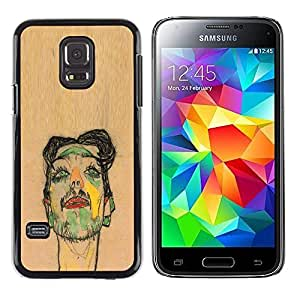 A-type Colorful Printed Hard Protective Back Case Cover Shell Skin for Samsung Galaxy S5 Mini / Samsung Galaxy S5 Mini Duos / SM-G800 !!!NOT S5 REGULAR! ( Artist Painting Sketch Portrait Brown )