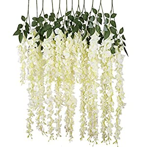ABULU 24 Piece Realistic Artificial Silk Wisteria Vine Ratta Silk Hanging Flower Plant for Home Party Wedding Decor and Other Various Events, Each White 9