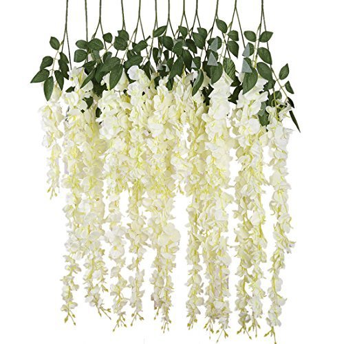 e-joy 24 Piece Realistic Artificial Silk Wisteria Vine Ratta Silk Hanging Flower Plant for Home Party Wedding Decor and Other Various Events, Each White ()