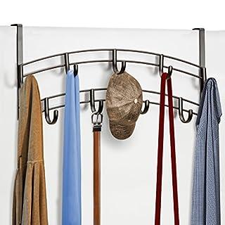 Lynk Over Door 9 Hook Rack Shirt, Belt, Hat, Coat, Towel Organizer, Bronze