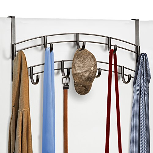 Lynk Over Door Accessory Holder - Scarf, Belt, Hat, Jewelry Hanger - 9 Hook Organizer Rack - Bronze - Overdoor Cap Organizer