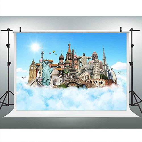 (Travel World Backdrop for Photography, 9x6ft, Landmarks Clouds Backgrounds, Romantic Places of Interest Backdrops, Photo Booth Studio Props)