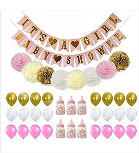 Baby Shower Decorations, Baby Bottle Feeders, BABY SHOWER & IT'S A GIRL Banner, Flower Pom Poms Pink/White/Gold/Cream Party Decoration (Gold Feeder)