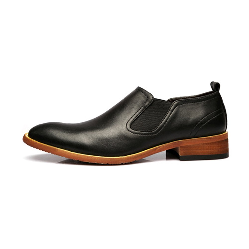Svarta SCSY -Oxford skor Simple Mans Casual Casual Casual Slip -on skor Dual Flexible Plate Matte Genuine läder Block Heel Outole Oxford s  preferentiell