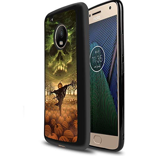 (Design Case for Moto G5 Plus,Merciey Black TPU Pumpkin Scarecrow Personalized Customization Pattern Protective Cover, Moto G5 Plus Case)
