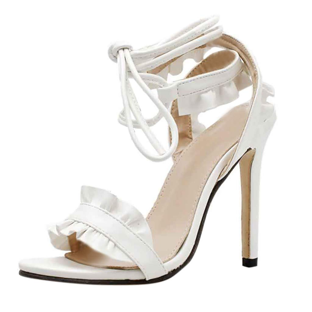 Women's Cross Strap Ankle Strap Lace up High Heels Open Toe Stiletto Heeled Strappy Sandals (White, US:5.5)