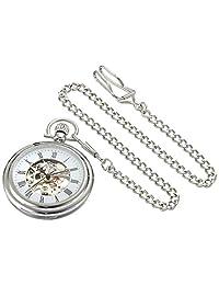 Stuhrling Original Pocket Watch 6053.33113 Special Reserve Montres de Poche Vintage Mechanical Skeleton Stainless Steel Watch
