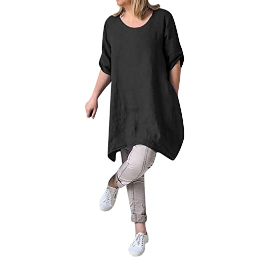 995005e3e7 Sunhusing Ladies Summer Cozy Cotton Linen Style Dress Casual Plus Size Ladies  Loose Dress Black