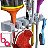 Berry Ave Broom Holder Wall Mount and Garden Tool Organizer, Closet Storage, Kitchen Rack, Home Organization and Garage Organizer for Rake or Mop Handles Up to 1.25-Inches, Hanger Plus 6 Hooks