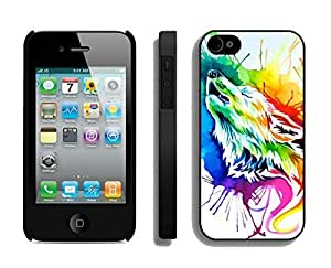 Case For Iphone 5C Cover Durable Soft Silicone PC Funny Slim Rainbow wolf Art Black Cell Phone for Iphone 5C