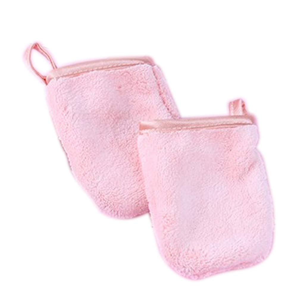 Make Up Remover Cloth, Washing Gloves Microfibre with Sponge Reusable Fast Drying Super Soft Beauty Face Wash Cloth Pink