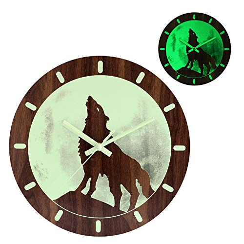 Kesin Night Light Function Wooden Round Brown Wall Clock Unique Vintage Rustic Country Decorative Home Living Room Kitchen Bedroom 12 Inch Non-Ticking Quartz Battery Operated Wolf Luminous Clock (Unique Large Clocks Wall)