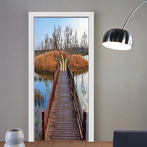 Gzhihine custom made 3d door stickers House Decor Wetland In Kunming Deck Tourism Travel Clear Sky Hiking Countryside Fall Scene Decor For Room Decor 30x79 by Gzhihine