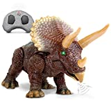 """Discovery Kids RC Triceratops, LED Infrared Remote Control Dinosaur, Built-in Speakers W/ Digital Sound Effects, 8.75"""" Long, Includes Glowing Eyes, Life-Like Motion, A Great Toy for Girls/Boy, Orange"""