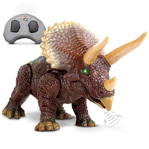Discovery Kids RC Triceratops, LED Infrared Remote Control Dinosaur, Built-in Speakers W/ Digital Sound Effects, 8.75 Inches Long, Includes Glowing Eyes, Life-Like Motion, A Great Toy for Girls/Boy