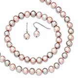 Sterling Silver Pink/Grey 7-8mm FW Cultured Potato Pearl 3 Piece Gift Set
