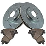 Performance Cross Drilled Slotted Brake Rotor & Ceramic Pad Front Kit