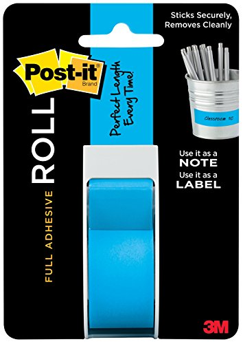 Post-it Full Adhesive Roll, 1 in x 400 in, Mediterranean Blue, 1-Pack (2650-P)
