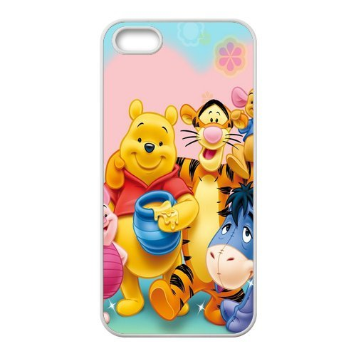 5s Case, iPhone 5 5s Case - Fashion Style New Winnie the Pooh Painted Pattern TPU Soft Cover Case for iPhone 5/5s(Black/white)