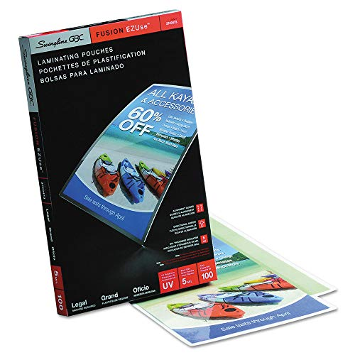 (Swingline 3740473 Fusion EZUse Premium Laminating Pouches44; 5 mil44; 9 x 14.544; 100-Box )