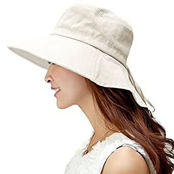 Siggi Summer Flap Cover Cap Cotton UPF 50+ Sun Shade Hat with Neck Cord Wide Brim for Women Beige(SIZE:54-55.5CM)