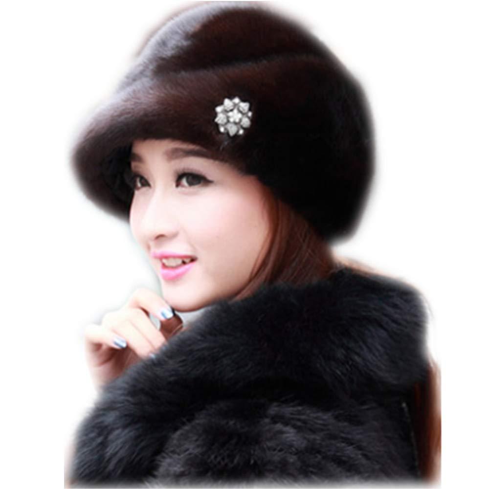 MH Bailment Women Winter Berets Real Whole Leather Mink Cap Korean Ceremony hat (M(56-58cm), Dark Brown)