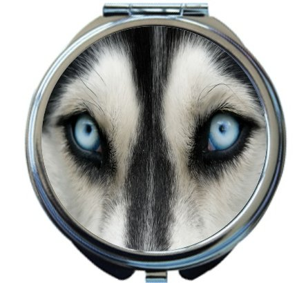 Rikki Knight Wolf Close Up Design Round Compact Mirror by Rikki Knight
