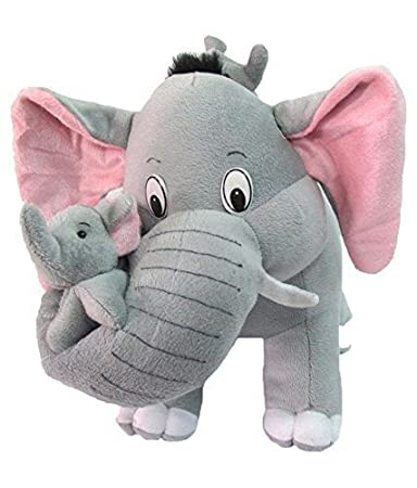 Sana Premium Quality Cute Mother Elephant with Two Baby Stuffed Soft Plush Toy -32 cm