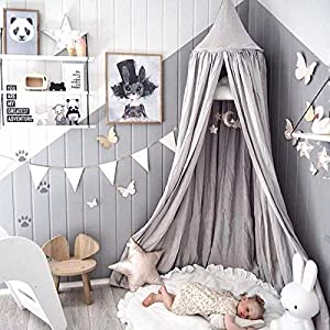 Children Bed Canopy Grey Round Dome, Nursery RoomDecorations,Dix-Rainbow Cotton Mosquito Net Bed Canopies Kids Play Tent for Baby, Height 240cm/94.5in 51SCB81jDGL