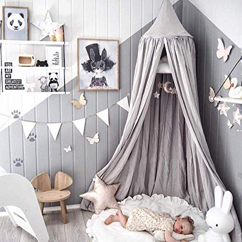 Dix-Rainbow Princess Bed Canopy for Kids Baby Bed, Round Dome Kids Indoor Outdoor Castle Play Tent Hanging House Decoration Reading Nook Cotton Canvas Prince Grey (Canopy Cribs)