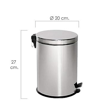 MAURER Papelera Inoxidable 5 Lt. 20x27cm, Metal, Gris, 22x22x30 cm: Amazon.es: Hogar
