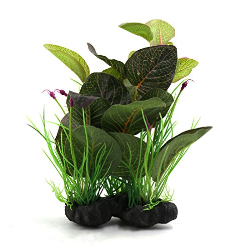 (uxcell Green Plastic Terrarium Leaves Plant Ornament for Reptiles and Amphibians)