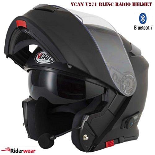 VCAN V271 Blinc Radio Modular Motorcycle Motorbike Bluetooth Flip Up Helmet...