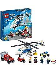 LEGO 60243 City Politiehelikopter Achtervolging met ATV Quad, Motorfiets en Truck, Voertuigen Bouwset voor Kinderen van 5+