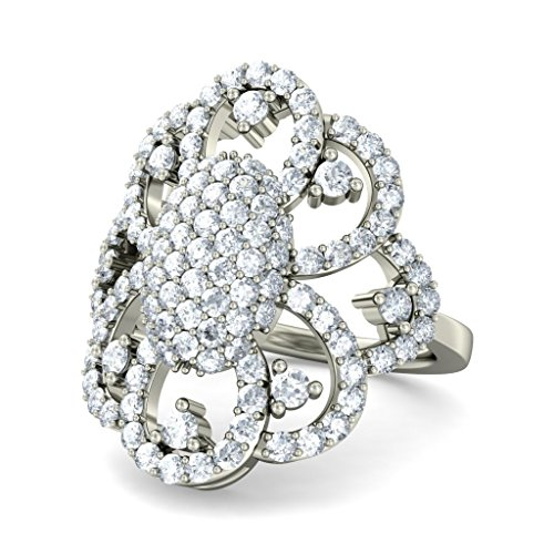 Or blanc 18K, 1.3carat Diamant Taille ronde (IJ | SI) Cocktail en diamant