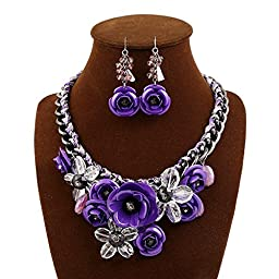 truecharms Women\'s Luxury Fashion Jewelry Sets Evening Party African Beads Jewelry Set Suspension Crystal Flower Earring Necklace Set (Purple)