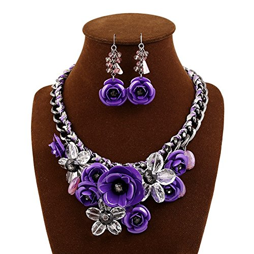 truecharms Fashion Jewelry Sets Party Statement Crystal Flower Necklace and Earrings Set (Purple) Purple Necklace Earrings