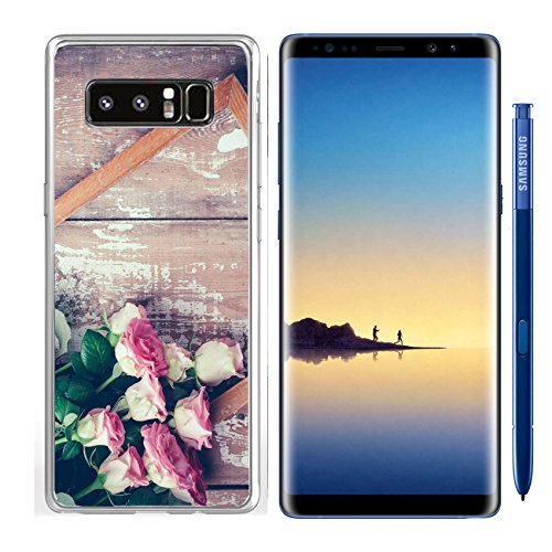 Luxlady Samsung Galaxy Note8 Clear case Soft TPU Rubber Silicone IMAGE ID 31211338 Bouquet of pink roses and a wooden frame on old board background vintage color tinting ()