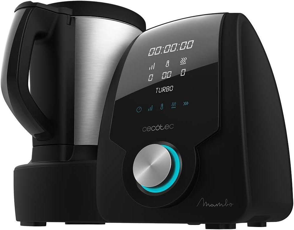 Cecotec Robot de Cocina Multifunción Mambo Black . Con 23 Funciones, Pantalla Digital, Jarra de acero inoxidable de 3,3l., 10 velocidades y temperatura hasta 120ºC, Recetario Incluido