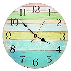 Decorative Wall Clock ,RELIAN 14 Inch Beach Silent Wall Clock Non Ticking for Home Decor