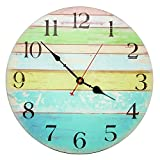 Decorative Wall Clock ,RELIAN 14 Inch Beach Silent Wall Clock Non Ticking for Home Decor For Sale