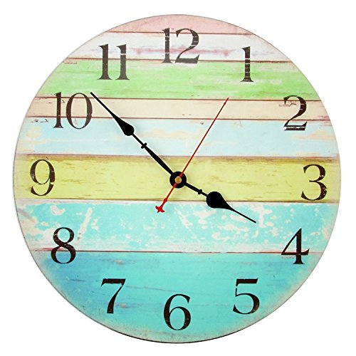 Decorative Wall Clock ,RELIAN 14 Inch Beach Silent Wall Clock Non Ticking for Home Decor by RELIAN
