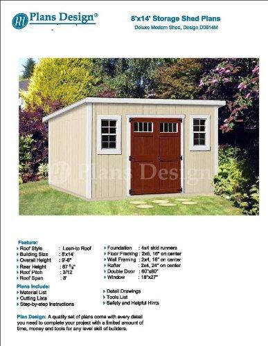 8 X 14 Deluxe Storage Shed Plans Building Blueprints Modern Roof Style Design D0814m