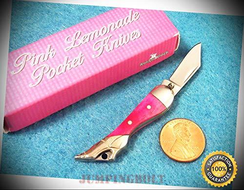 RR1233 Mini Leg Knife Pink smooth bone pocket folder 2'' closed - Knife for Bushcraft EMT EDC Camping Hunting