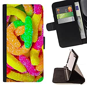 DEVIL CASE - FOR Sony Xperia Z3 D6603 - Rubber Candy Colorful Sugar Sweets Neon - Style PU Leather Case Wallet Flip Stand Flap Closure Cover