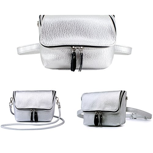 PU Fashion Bag Phone Purse Flap C Shoulder Millya Crossbody Multifuctional Zipped Pouch Bag Women sliver Waist Bag Cell Leather qBEw5EC